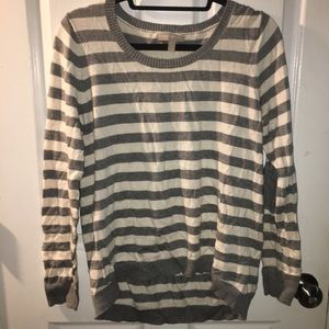 Banana Republic gray and off white striped sweater